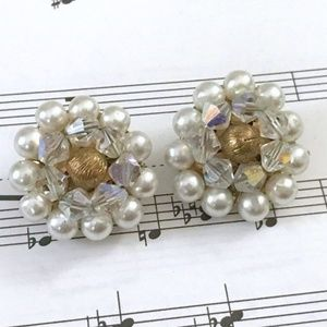 VINTAGE FAUX PEARL AND CRYSTAL CLIP-ON EARRINGS